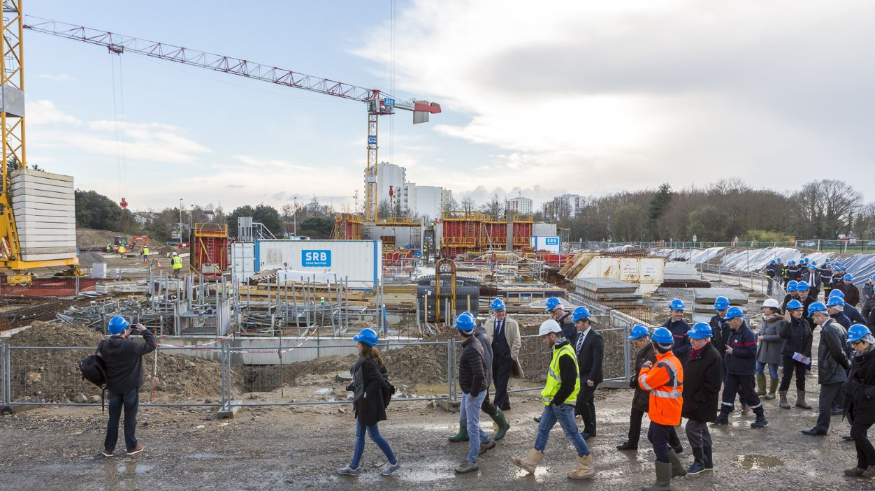 Visite du chantier du futur centre de secours de Kervaric © Fanch Galivel